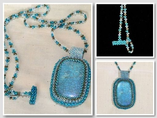 Custom Made Blue Beaded Magnesite Pendant And Necklace