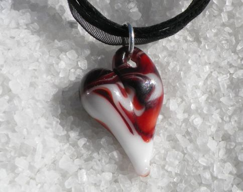 Custom Made Heart Necklace Glass Jewelry Pendant Lampwork Boro Heart Black White And Red