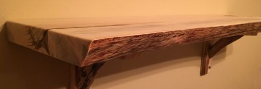 Custom Made Natural Edge Red Pine Slab Shelf With Custom Brackets