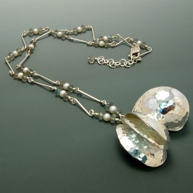 "Custom Made Sterling Silver ""Angel Wings"" Necklace With Labradorite And Freshwater Pearls"