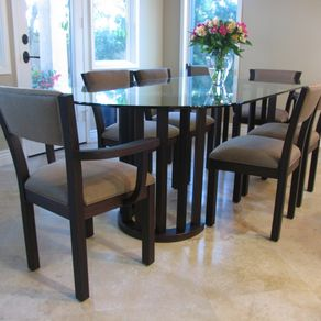Oval dining and kitchen tables custommade dining chairs and table by del cover workwithnaturefo