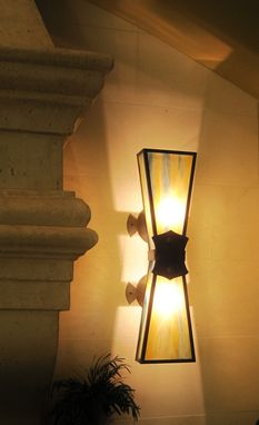 Custom Made Metal And Art Glass Wall Sconce