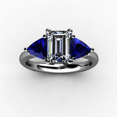 Custom Made Three Stone Emerald Cut Diamond With Trillion Cut Sapphires/ Rubies