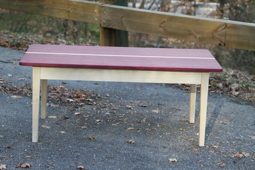 Custom Made Purpleheart Coffee Table With White Washed Base