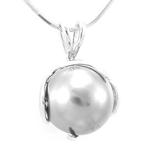 Custom Made Fresh Water Pearl Pendant In 14k White Gold, Pearl Pendant, Ladies Pendant