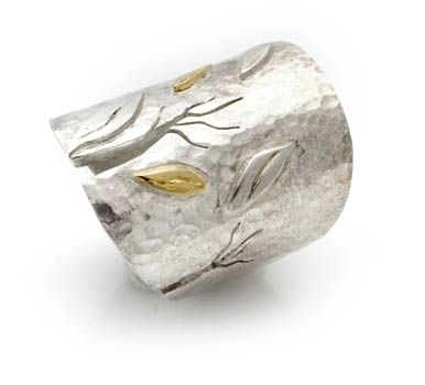 Custom Made Silver And Gold Ring – Falling Leaves Collection