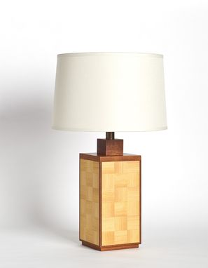 Custom Made Wood Table Lamp With Woven Pattern