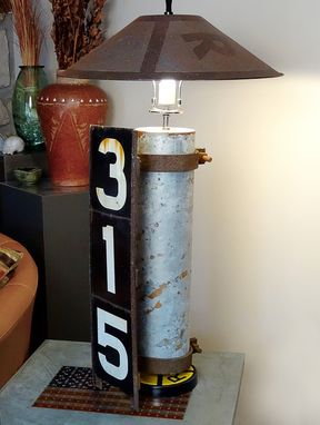 Custom Made Handmade Lamp Featuring Railroad Marker Sign Vintage