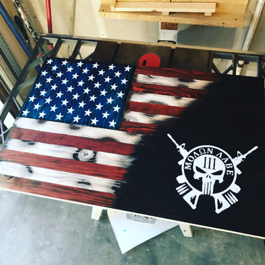 Custom Made Molon Labe Colored American Flag 2'X3'