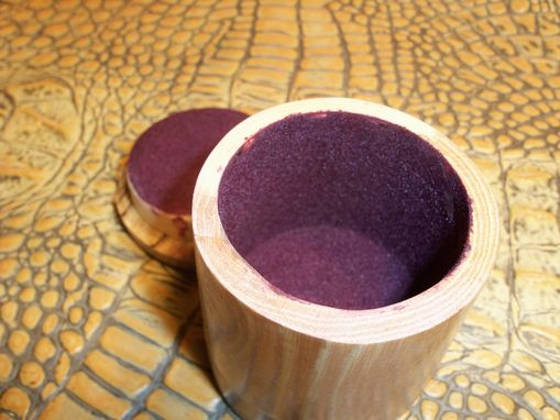 Custom Made Cylindrical Ring Box In Cherry And Spalted Maple