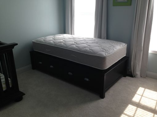 Custom Made Dark-Stained Cherry Twin Bed With Undermount Drawers