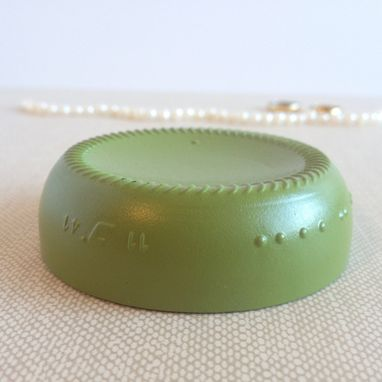 Custom Made Green Ring Holder, Upcycled Glass Jewelry Dish, Avocado Green, Thistle