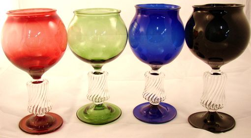 Custom Made Scalloped Hollow Stemed Multi Colored Wine Glasses