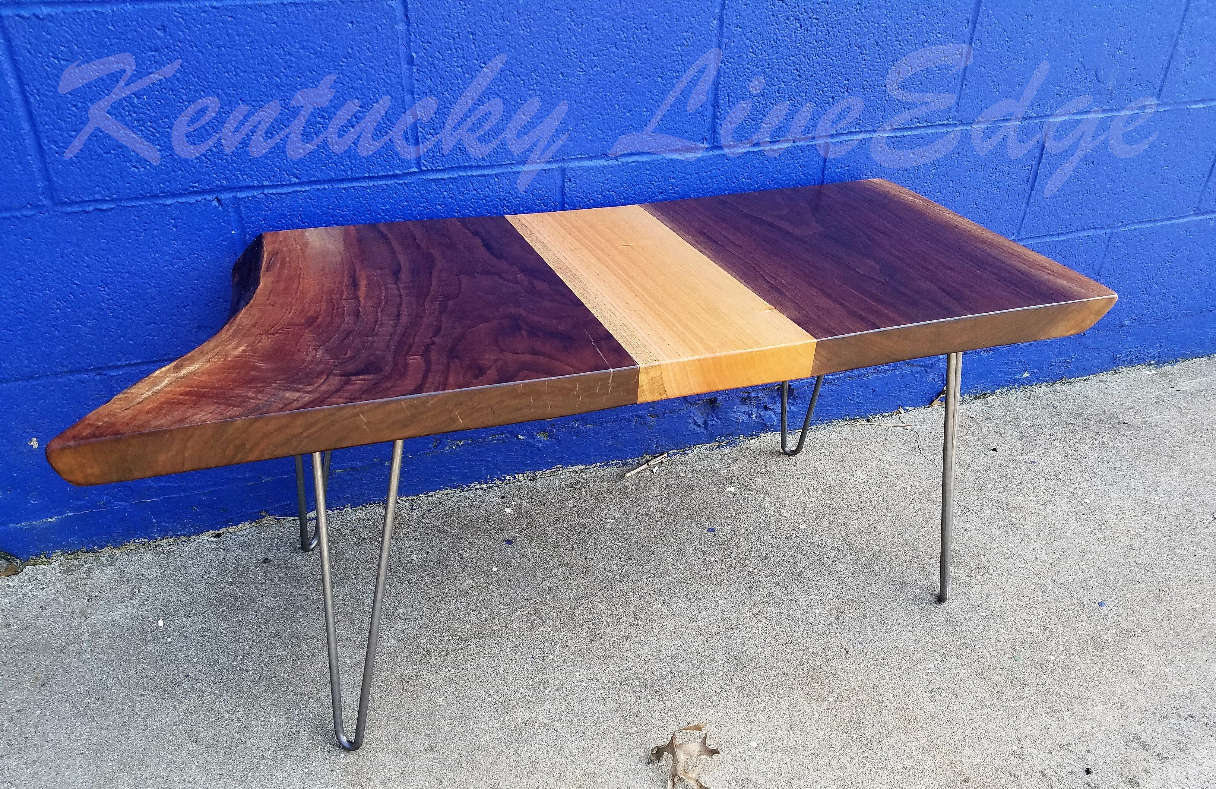- Hand Made Live Edge Coffee Table- Walnut And Mahogany- Modern- Rustic-  Sustainable- Reclaimed By Kentucky LiveEdge CustomMade.com