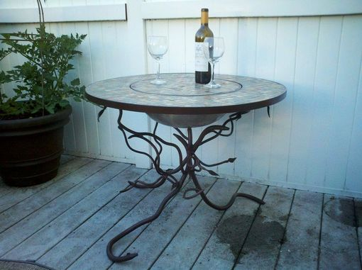 Custom Made Forged Let, Slate Tile Table Fire Pit.
