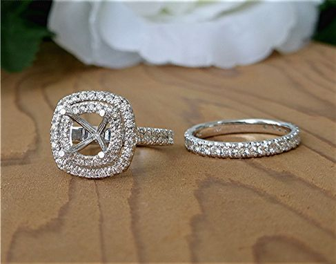 Custom Made Double Halo Diamond Semi Mounts Engagement Ring And Matching Band