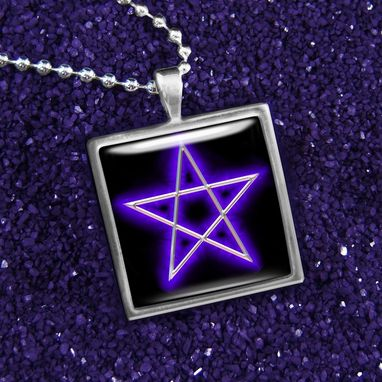 Custom Made Purple Pentagram Sterling Silver Necklace 105-Ssn