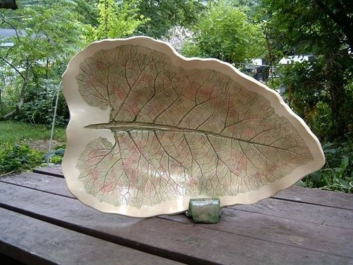 Custom Made Huge Ceramic Leaf Bowl Sculpture From Real Leaf With Watercolor Glaze By Faith Ann Of Fao