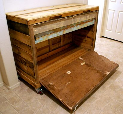 Custom Made Reclaimed Wheeled Bar Cabinet