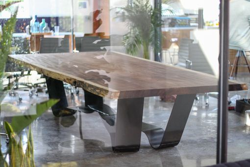 Custom Made Industrial Steel Base With Parota Table Top