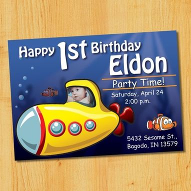 Custom Made Custom Children's Birthday Party Invitations - Submarine
