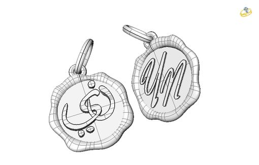 Custom Made Two Identical Pendants With Initials Y & N