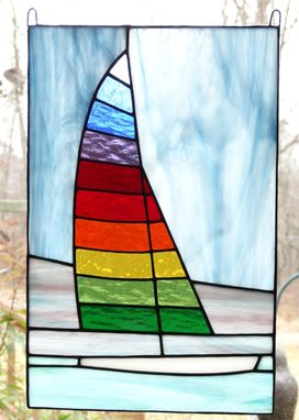 Custom Made Sailboat Stained Glass Window Panel With Rainbow Sail