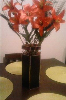 Custom Made Stained Glass Six-Sided Vase