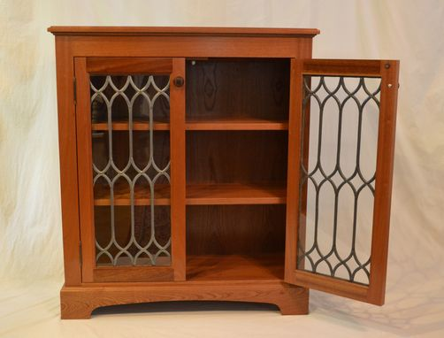 Custom Made Sapele Bookcase With Reclaimed Leaded Glass Doors