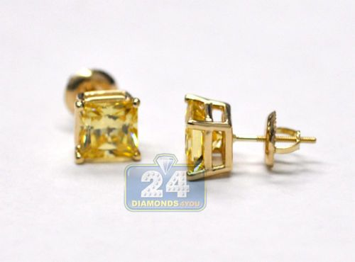 Custom Made 14k Yellow Gold 4.00 Ct Yellow Princess Swarovski Elements Stud Earrings