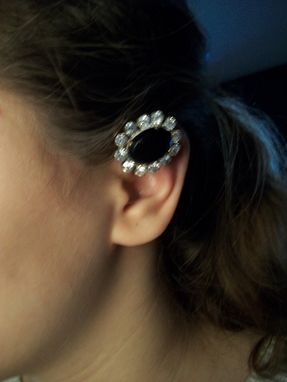"Custom Made Black Rhinestone Ear Cuff ""Luana''"