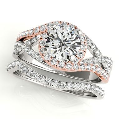 Custom Made Twisted Halo Engagement Ring Bridal Set