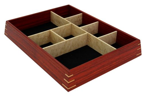 Custom Made Valet & Watch Box | Solid Padauk With Birdseye Maple Dividers And Splines