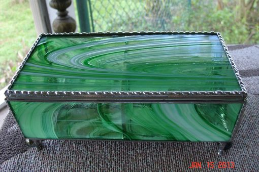 Custom Made Green And White Swirled Stained Glass Jewelry Box With Dividers