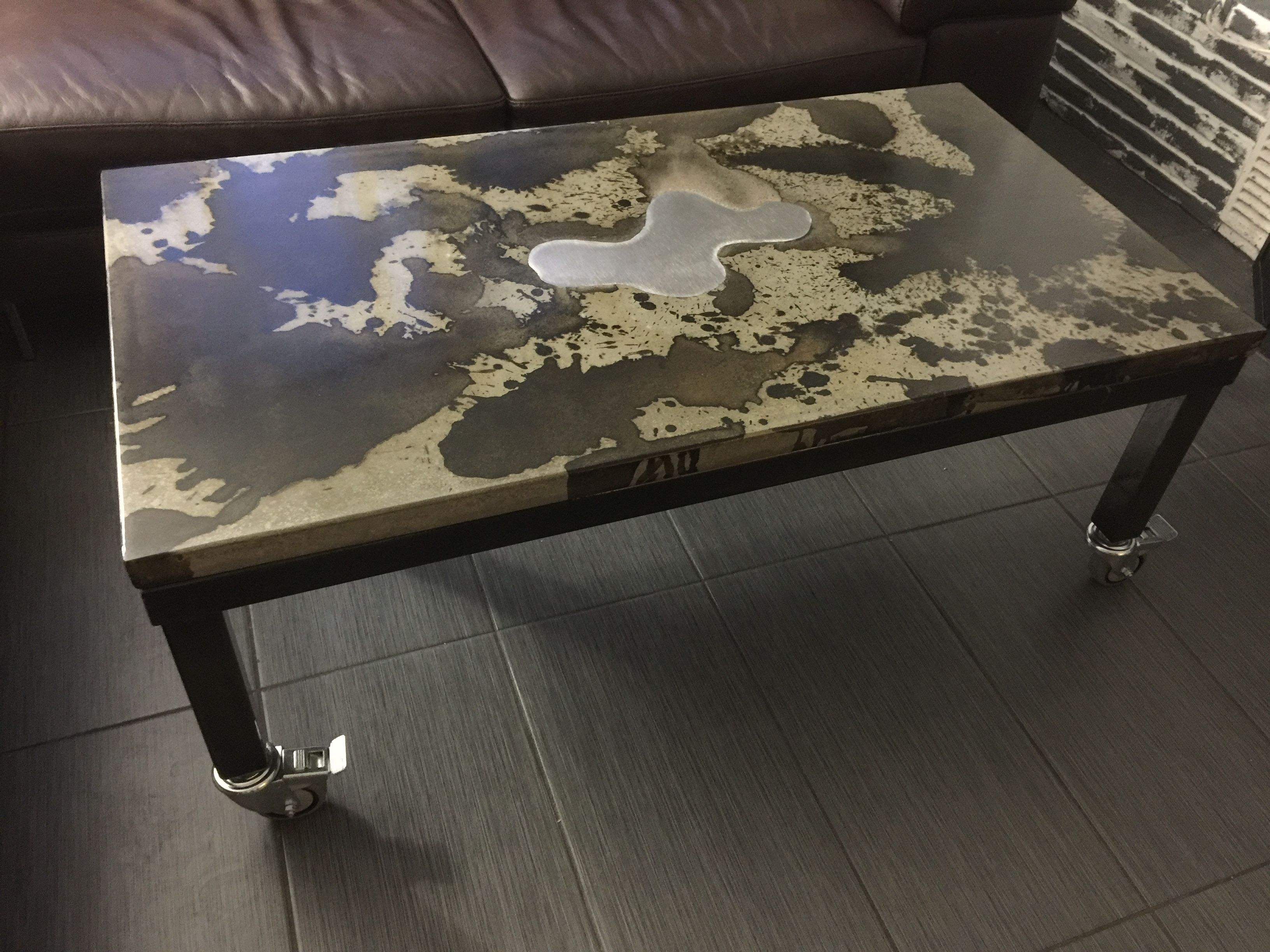 Hand Crafted Concrete Coffee Table With Steel Frame by Dirty Fish