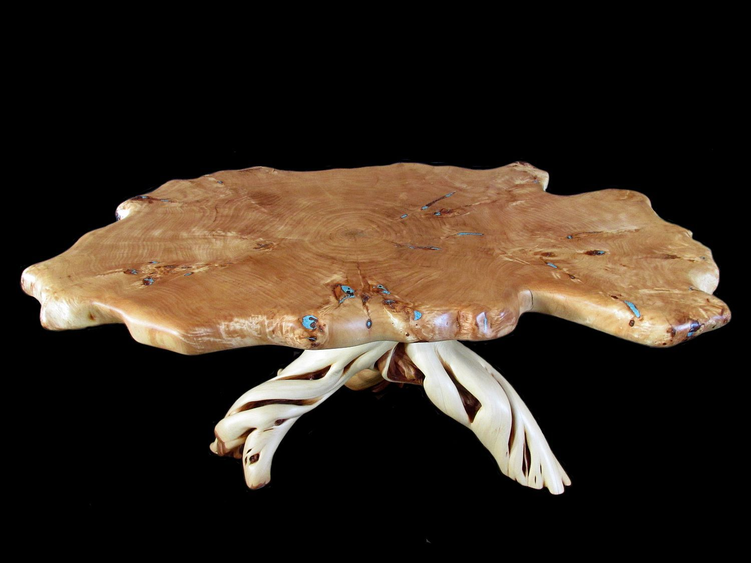 Custom Made Solid Wood Burl Cottonwood Slab Coffee Table Turquoise Inlay And Juniper Base
