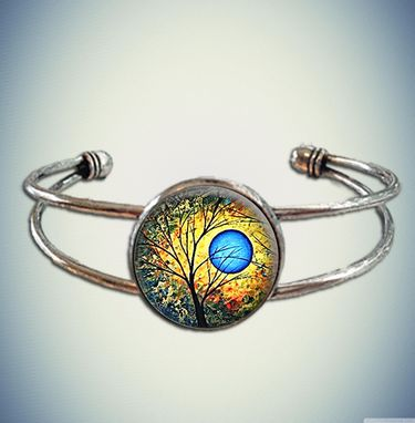 Custom Made Beautiful Tree Of Life Spiritual Yoga Chi Cuff Bracelet With Glass Bezel