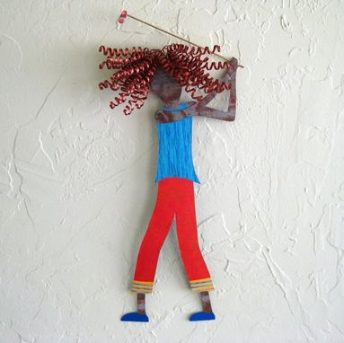 Custom Made Handmade Upcycled Metal Golfer Girl Wall Art Sculpture