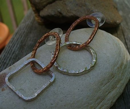 Custom Made Silver And Copper Hoop Earrings