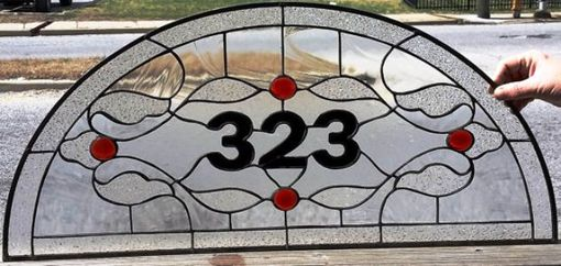 Custom Made Stained Glass Address Marker - Traditional Design -Clear & Red- (Am-158)