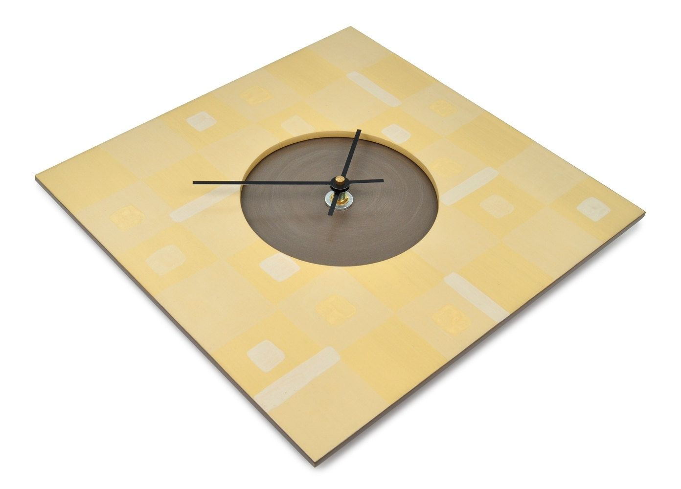 Custom made wall clock yellow boxes design 115 x 115 square custom made wall clock yellow boxes design 115 x 115 square clock ready amipublicfo Gallery