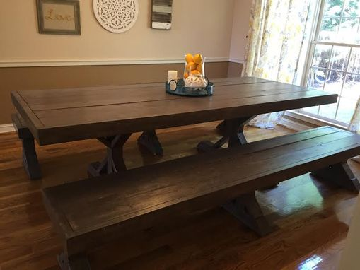 Custom Made Handmade, Solid Wood Dining Table With Star-Shaped Base And Matching Benches