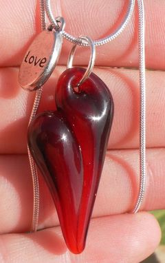 Custom Made Sterling Silver Necklace With Red Glass Pendant