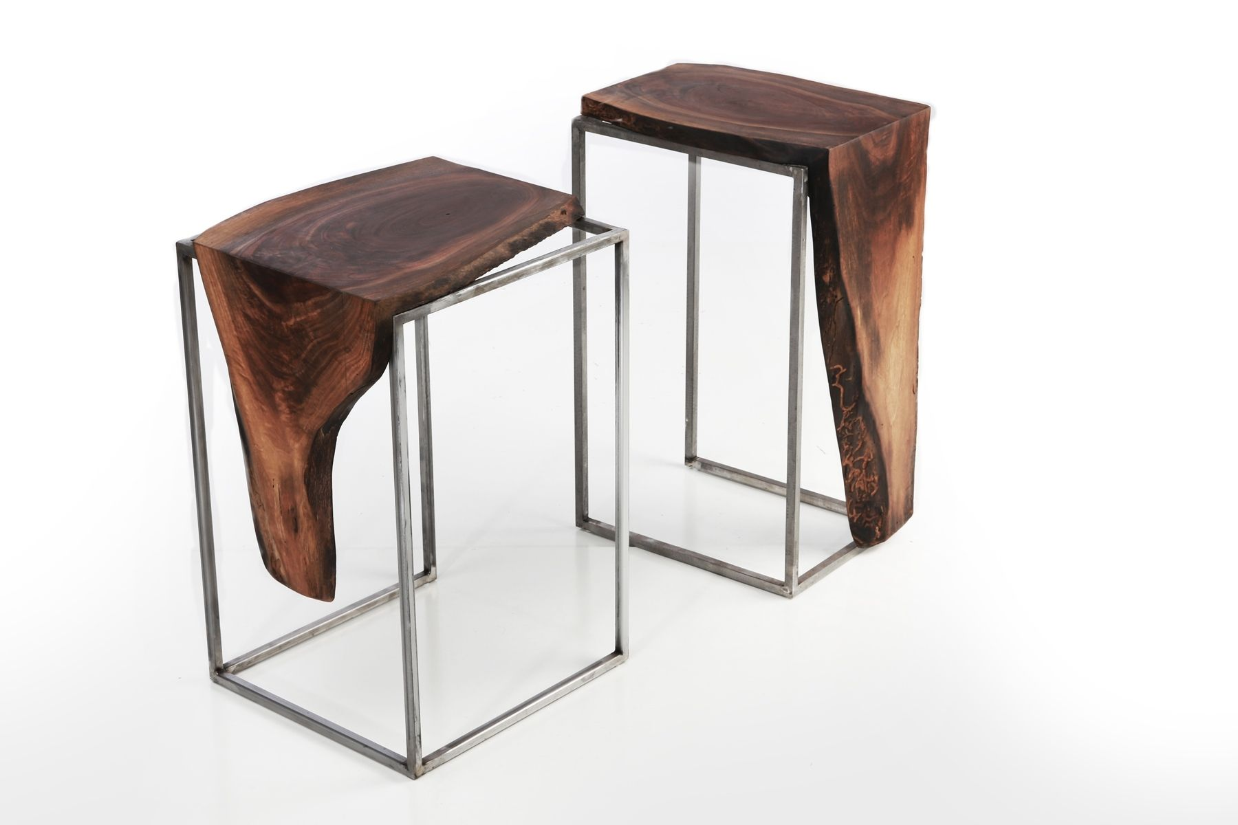 hand crafted side table solid black walnut top with metal base by anton maka designs. Black Bedroom Furniture Sets. Home Design Ideas