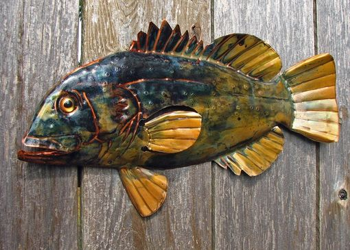Custom Made Copper Spotted Bass Sculpture