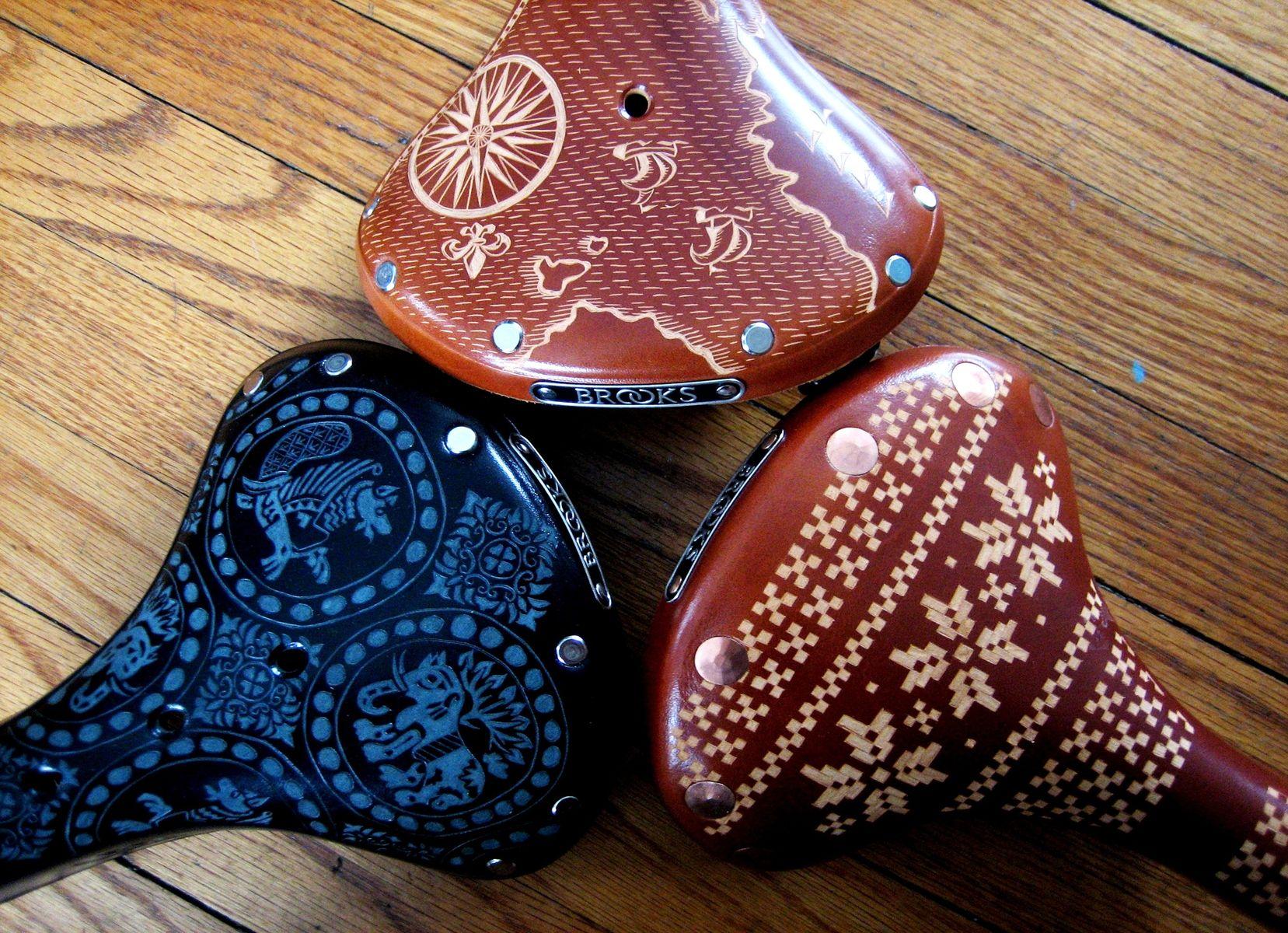 Handmade hand carved brooks bicycle saddles by kara