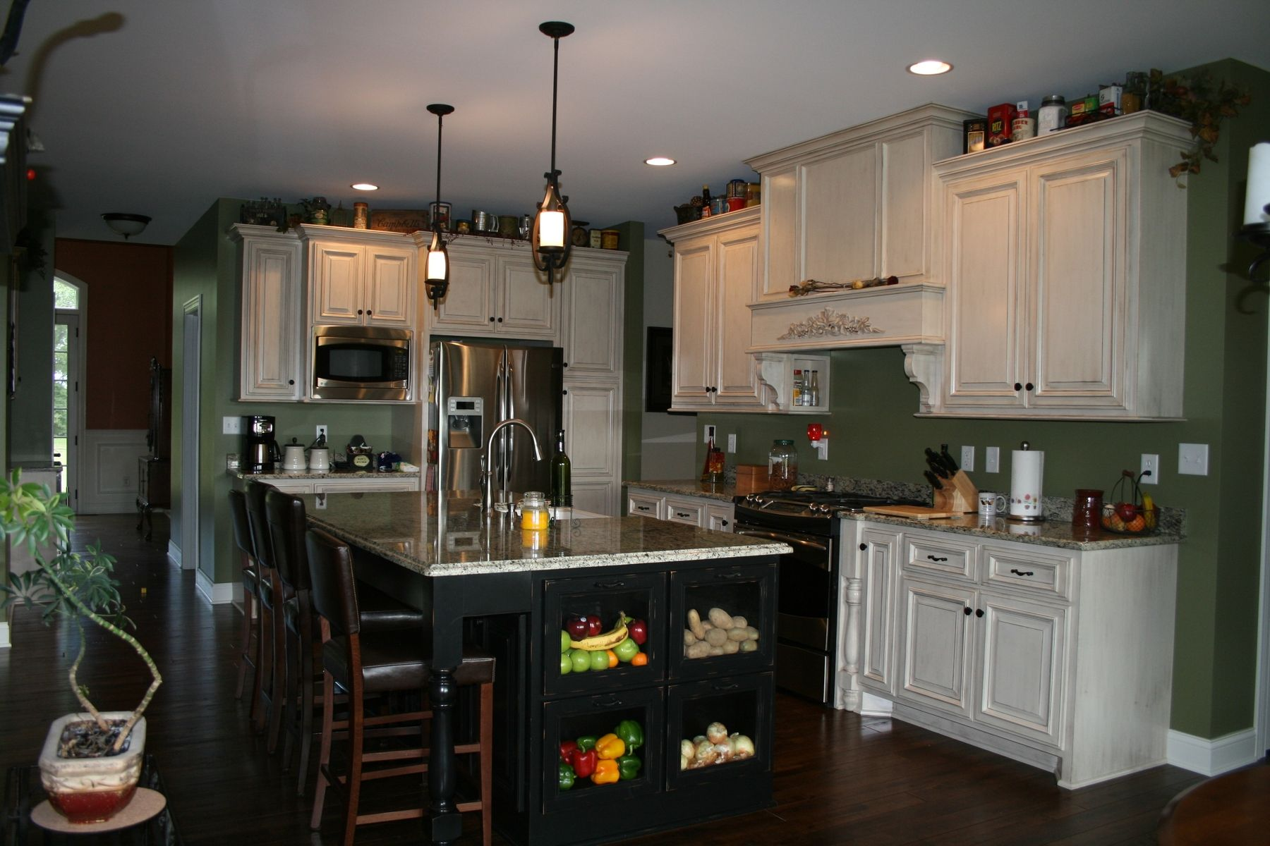 Custom Made Painted Kitchen Cabinets With Stained Island