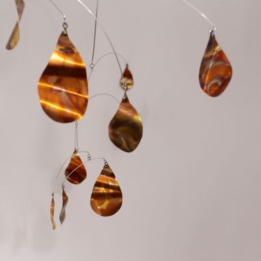 Custom Made Copper Rain Mobile Metal Mobile - Raindrop Style Kinetic Art Sculpture