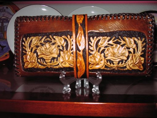 Custom Made Leather Hand Carved Ladie's Wallet