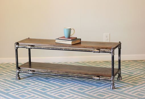 Custom Made Industrial Pipe And Wood Coffee Table